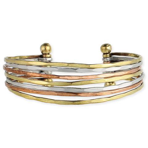 ZAD Jewelry Mixed Metal Hammered Cuff Bracelet