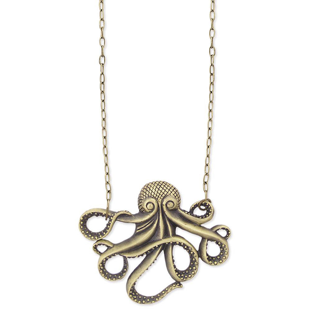 antique metal zadoctopusnecklace pendant jewelry necklace zad gold octopus products