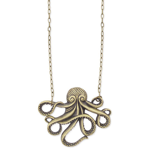 ZAD Jewelry Antique Gold Metal Octopus Pendant Necklace