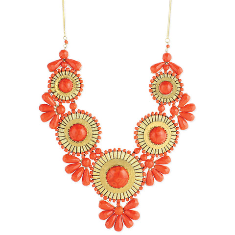 ZAD Jewelry Orange Bead Medallion Bib Necklace