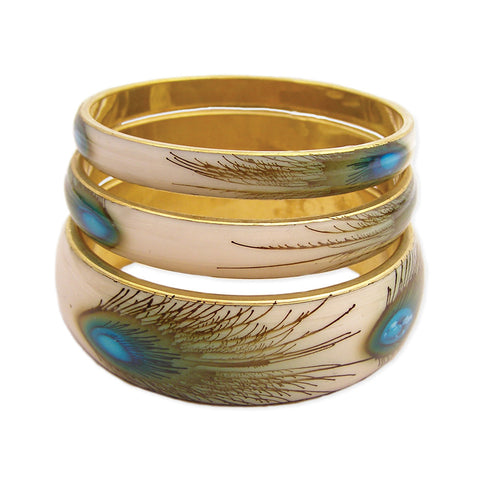 ZAD Jewelry Peacock Feather Print Bangles Set of 3