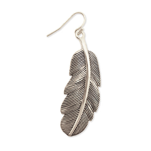 ZAD Jewelry Silver Metal Vintage Feather Earring