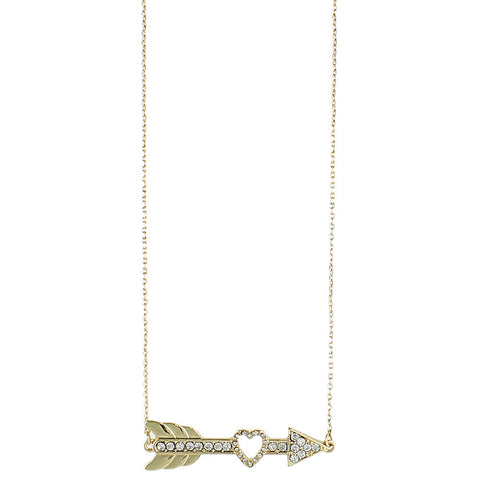 ZAD Jewelry Rhinestone Heart Arrow Necklace