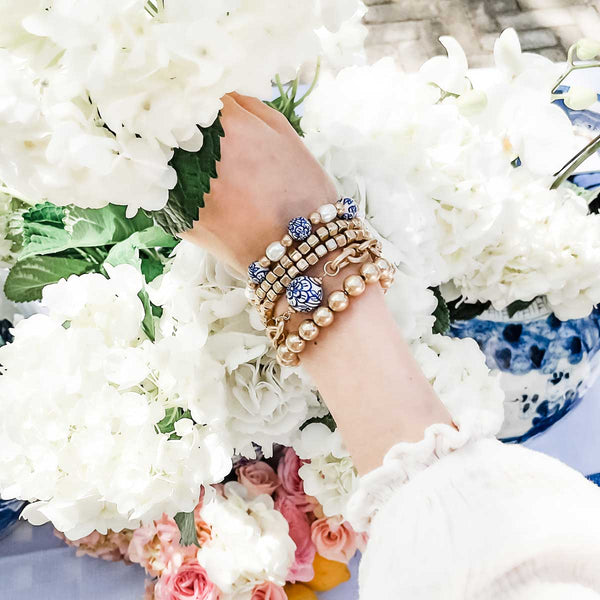 Chinoiserie & Pearl T-Bar Bracelet in Blue & White, Chinoiserie & Chunky Chain Bracelet in Blue & White, gold metal plated bead stretch bracelets