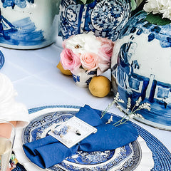 Blue and white chinoiserie tablescape, Chinoiserie & Pearl Hoop Earrings in Blue & White