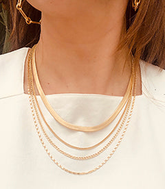 Layered Necklaces | Herringbone Chain | Layered Chain Necklace