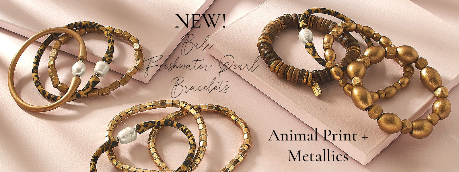 NEW! Animal Print & Metallic Bali Freshwater Pearl Bracelets - Real Freshwater Pearls and totally waterproof!