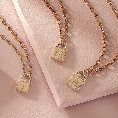 Mini Padlock Initial Necklaces on Paperclip Chains