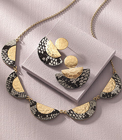 Python Print Decoupage Necklace & Earrings
