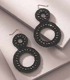 Beaded Lace Statement Earrings in Black
