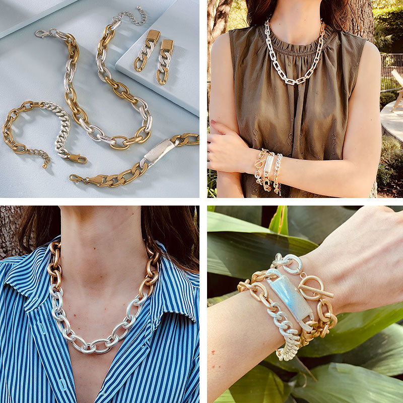Two-Tone Mixed Metal Necklaces, Bracelets & Earrings