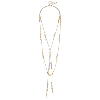 Arlo Layered Y Necklace in Worn Gold