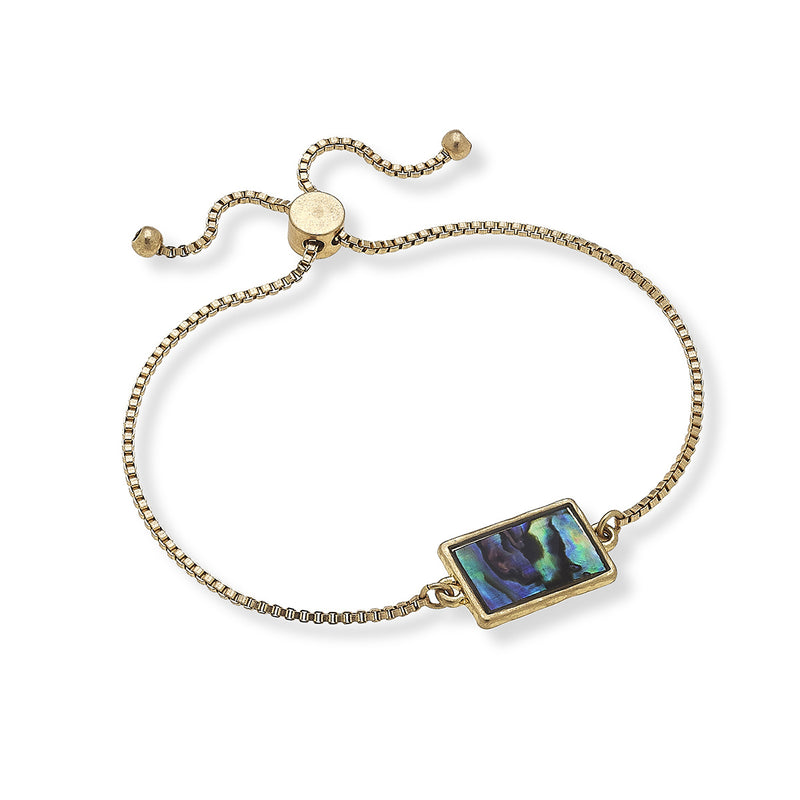 Sophia Bolo Bracelet in Abalone Mother of Pearl Shell