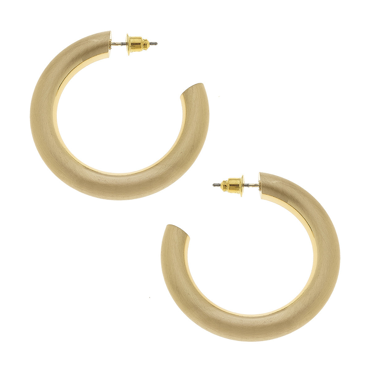 Arabella Hoop Earrings in Gold Satin