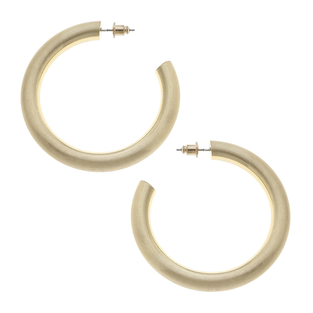 Isla Hoop Earrings in Gold Satin