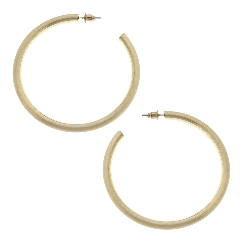Ivy Hoop Earrings in Gold Satin
