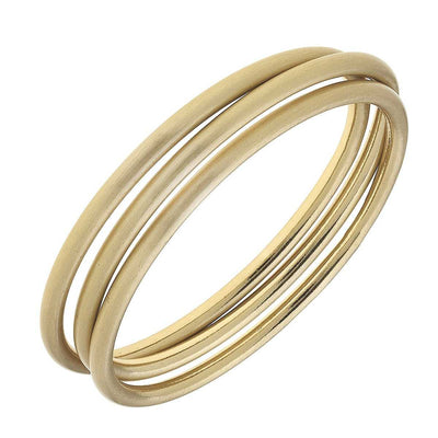 Isla Bangles - Set of 3 in Gold Satin