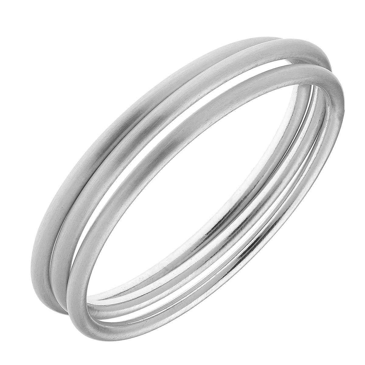Isla Bangles - Set of 3 in Silver Satin