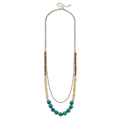 Henley Layered Necklace In Green Turquoise Wood & Clay