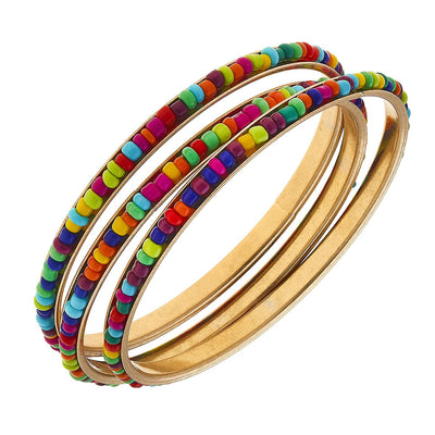Lulu Bangles In Multi Seed Beads (Set Of 3)