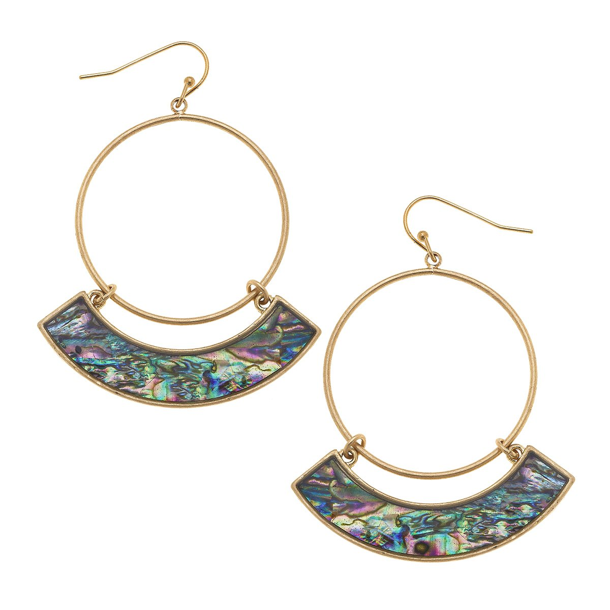 Maeve Hoop Earrings In Abalone Mother Of Pearl Shell