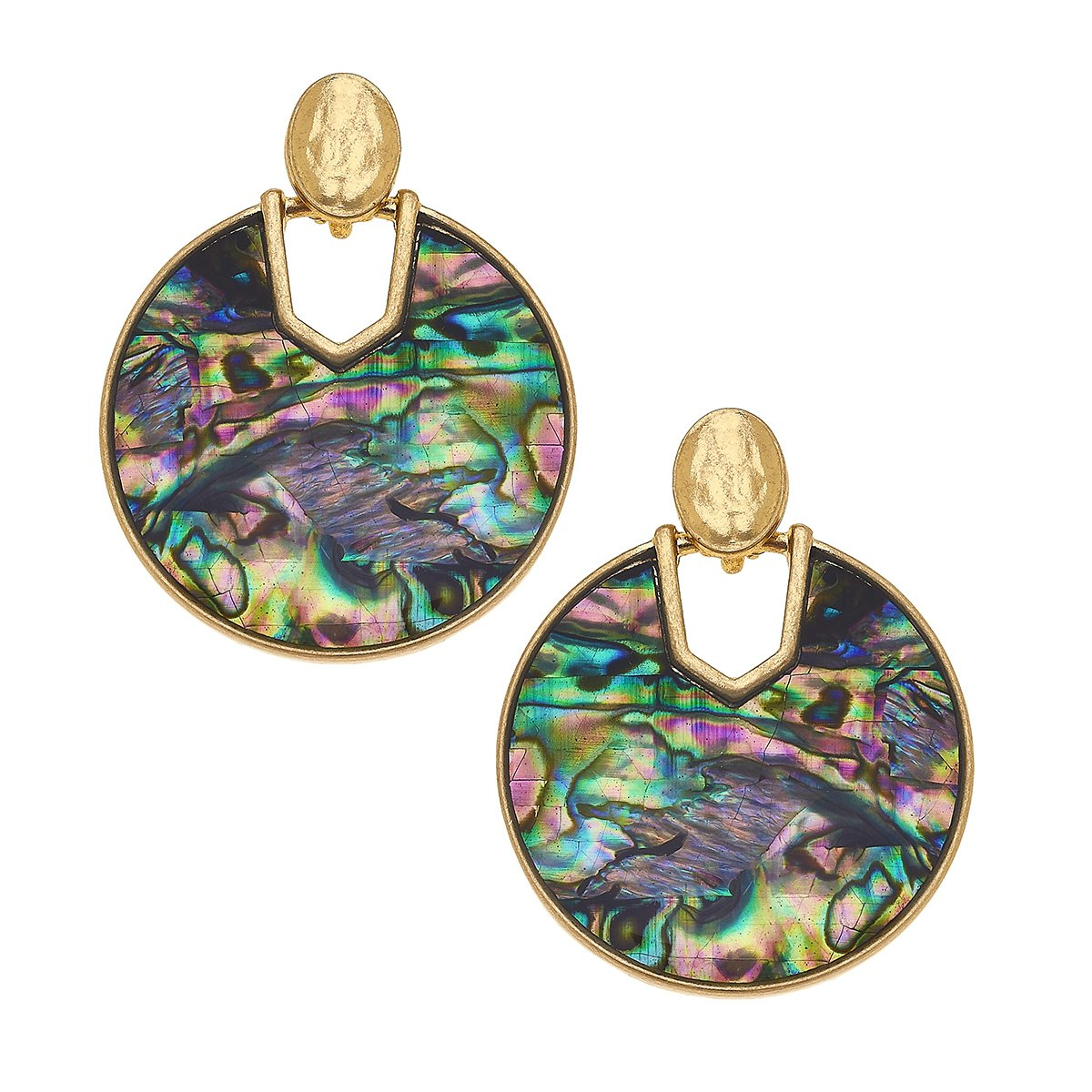 Genoa Earrings In Abalone Mother Of Pearl Shell