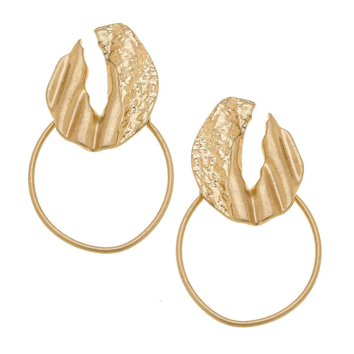 Berlin Statement Earrings In Textured Satin Gold