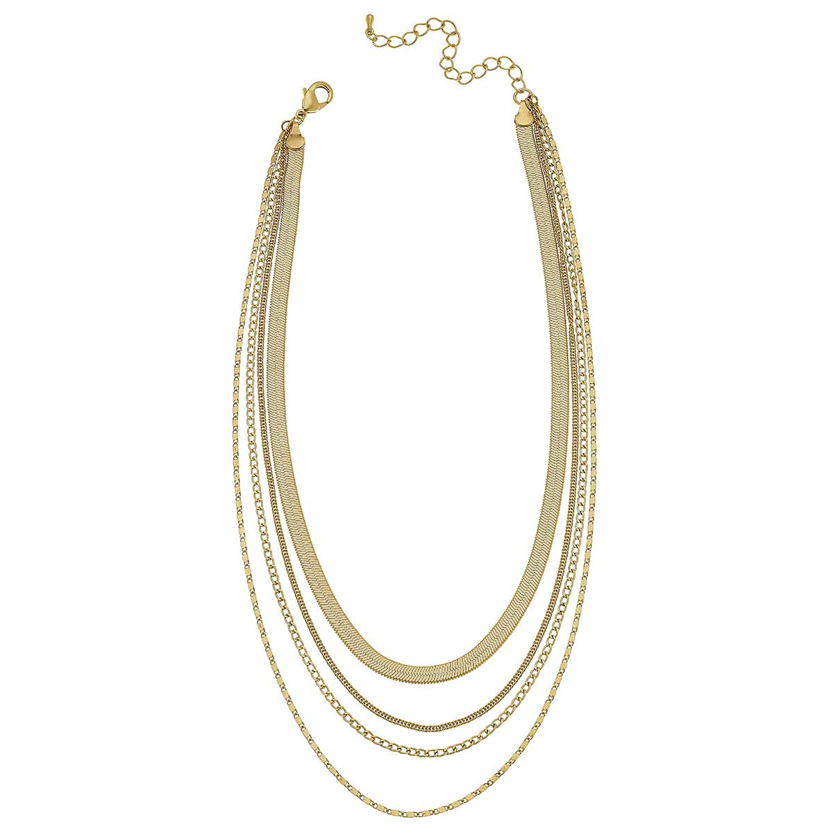 Allura Layered Statement Necklace in Matte Gold