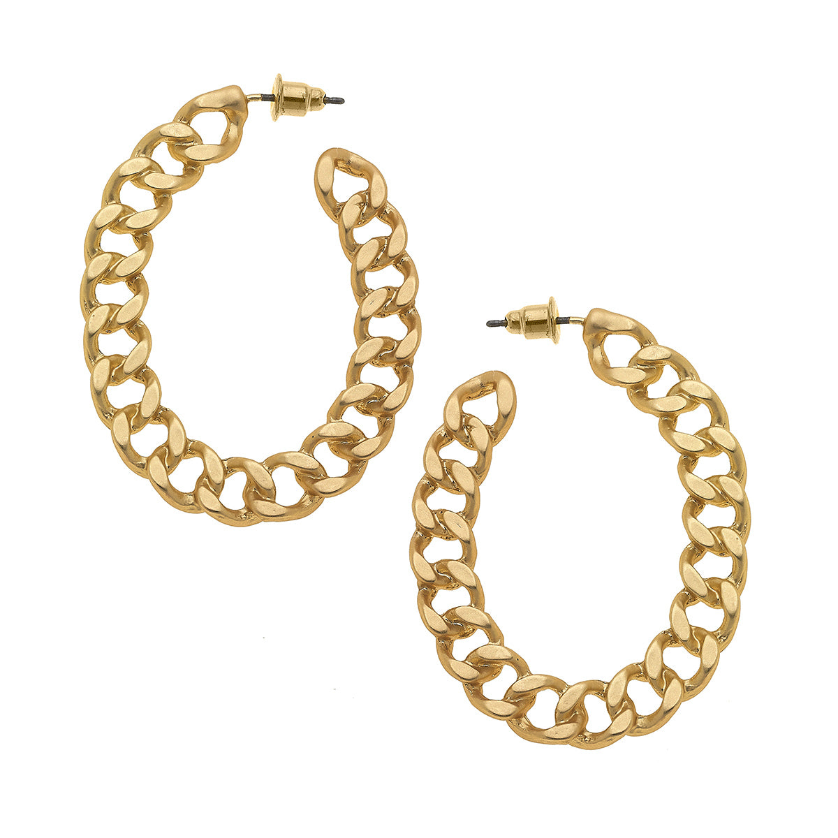 Elin Frozen Chain Link Hoop Earrings in Matte Gold