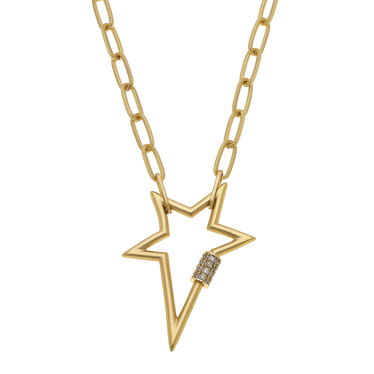 Lola Star Screw Lock Necklace In Worn Gold