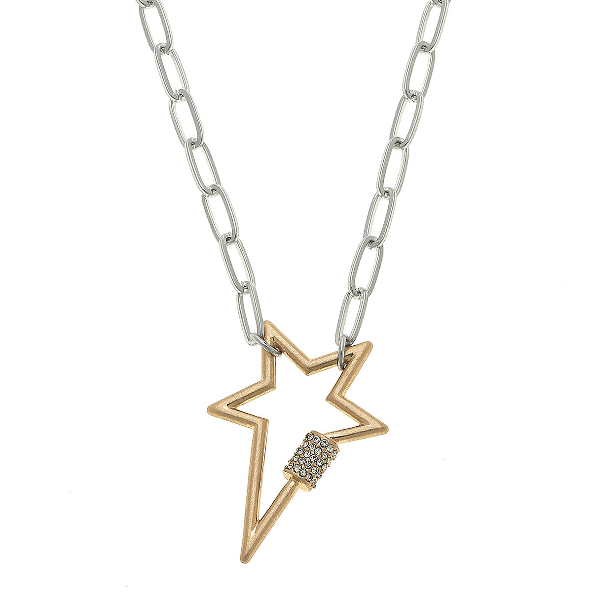 Lola Star Screw Lock Necklace In Two-Tone