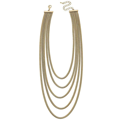 Kennedy Layered Statement Herringbone Chain Necklace in Worn Gold