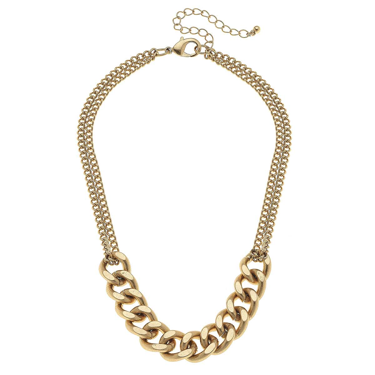 Maya Curb Chain Necklace in Worn Gold