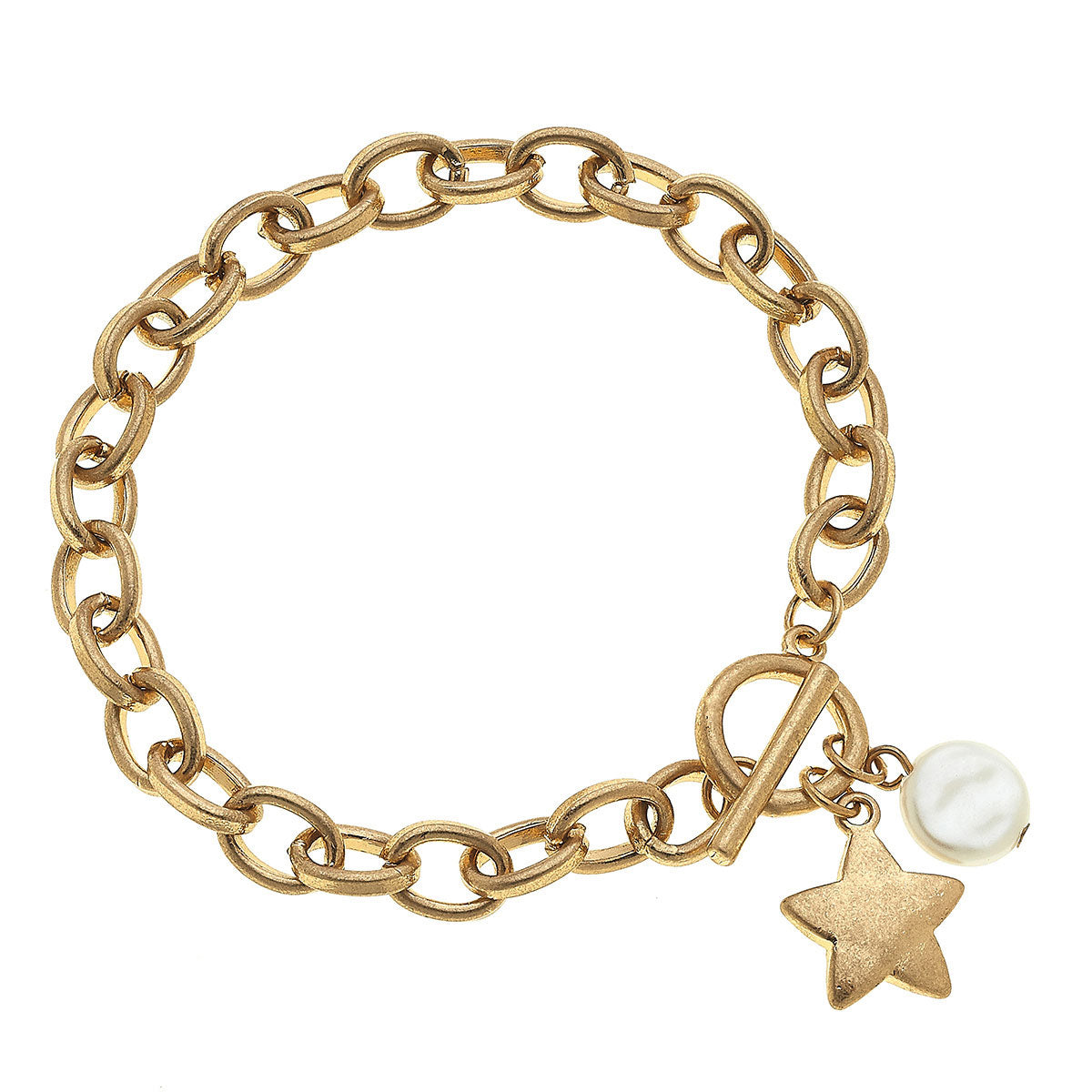 Claudia Star T-Bar Charm Bracelet in Worn Gold