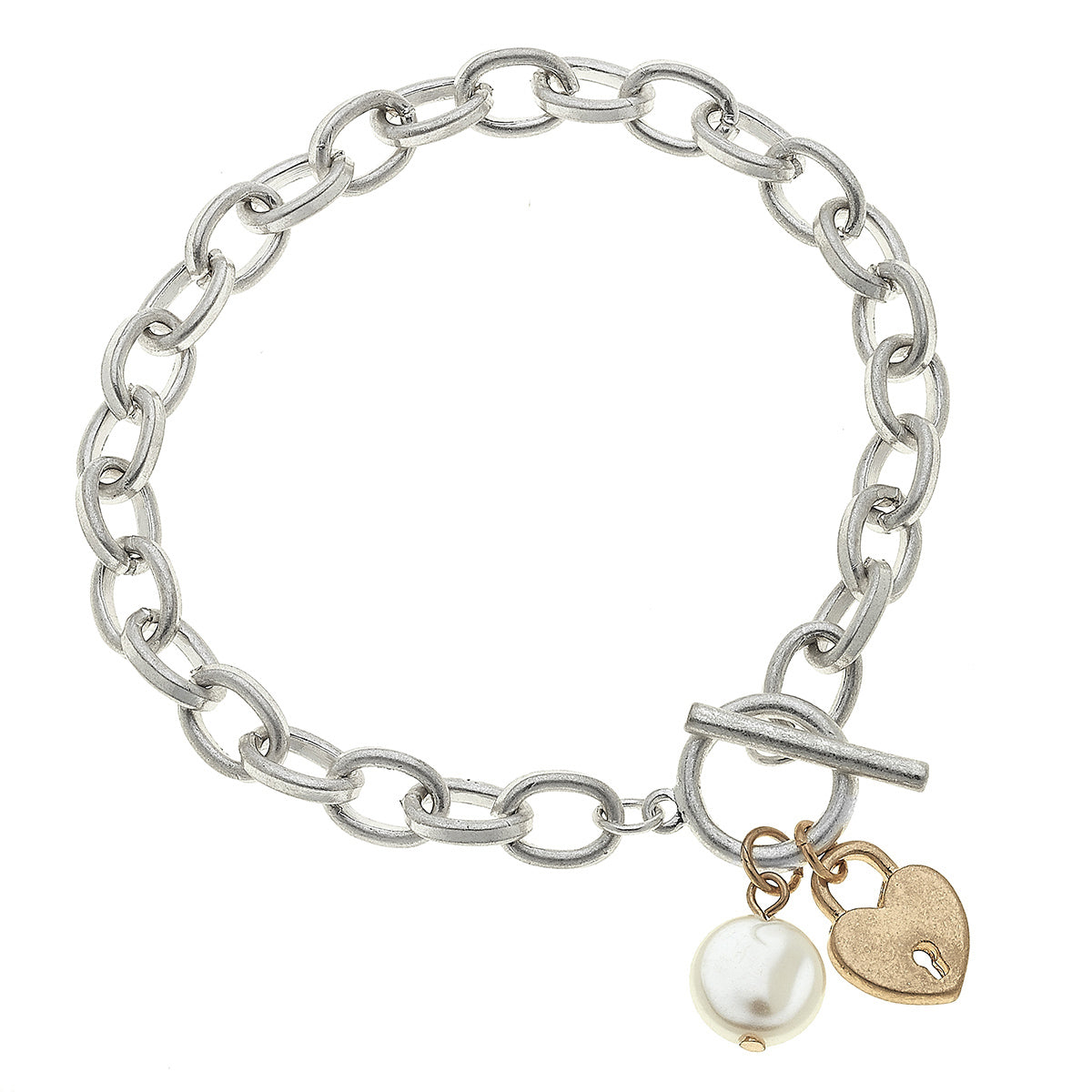 Heart T-Bar Charm Bracelet in Worn Silver