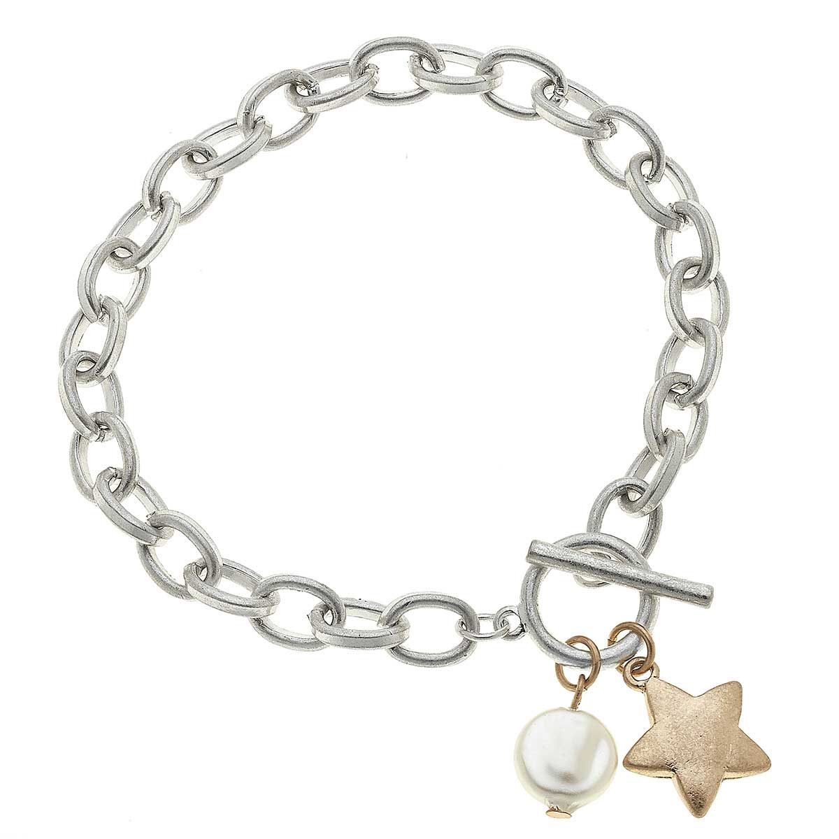 Claudia Star T-Bar Charm Bracelet in Worn Silver
