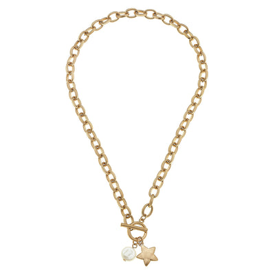 Claudia Star T-Bar Charm Necklace in Worn Gold