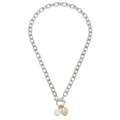 Heart T-Bar Charm Necklace in Worn Silver