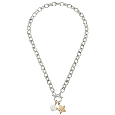 Claudia Star T-Bar Charm Necklace in Worn Silver
