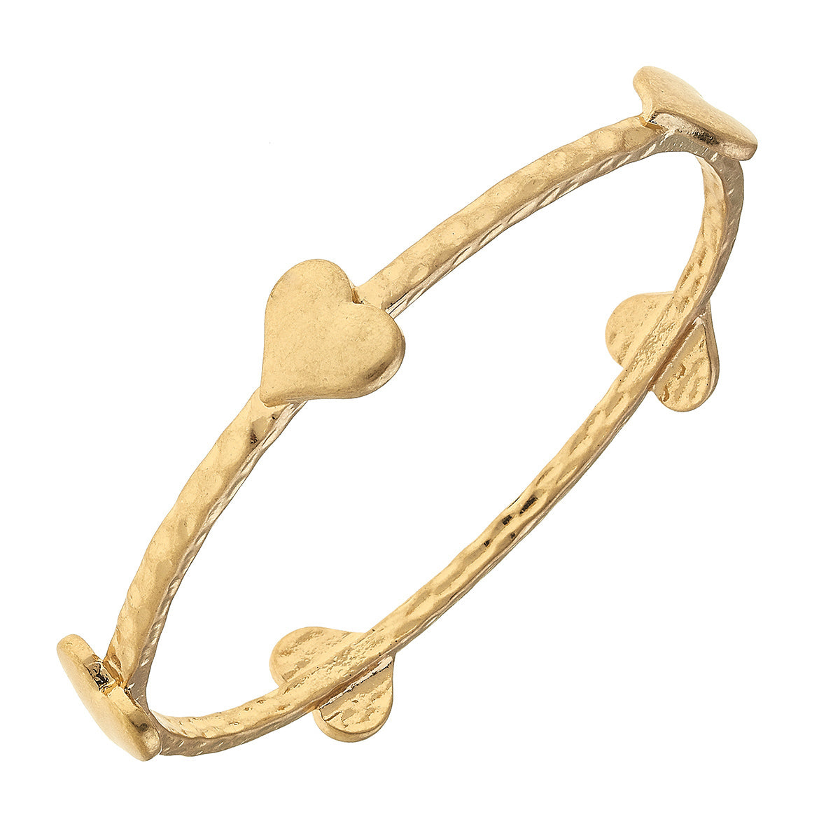 Claudia Heart Bangle in Worn Gold