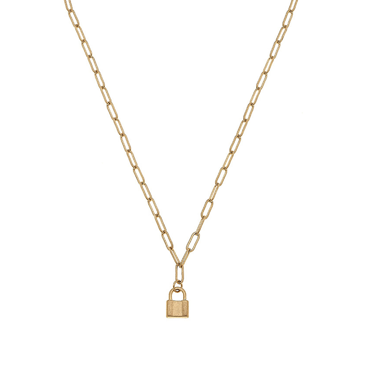 Genesis Mini Padlock Charm Necklace in Worn Gold