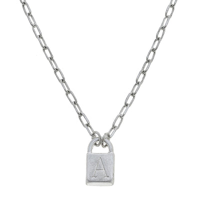 Kinsley Padlock Initial Necklace in Worn Silver | Available in 12 Different Letters