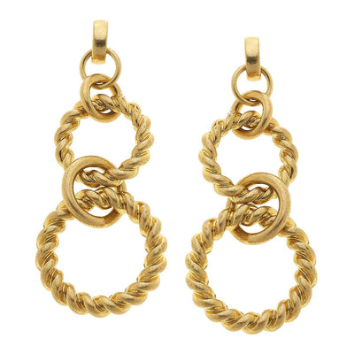 Angela Linked Rope Chain Earrings in Worn Gold