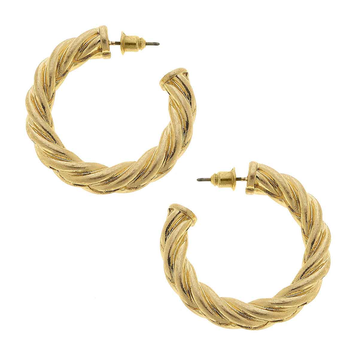 Claire Twisted Rope Hoop Earrings in Worn Gold