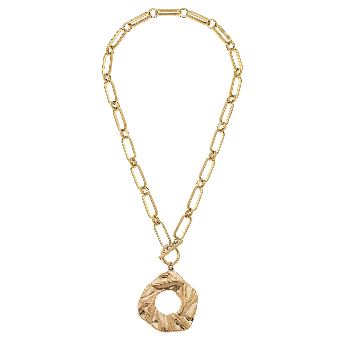 Venice T-Bar Necklace in Worn Gold