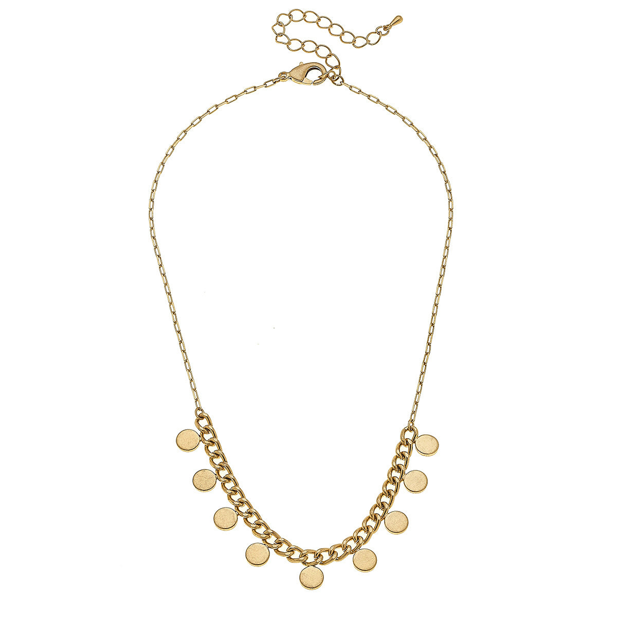Maya Curb Chain Disc Necklace in Worn Gold