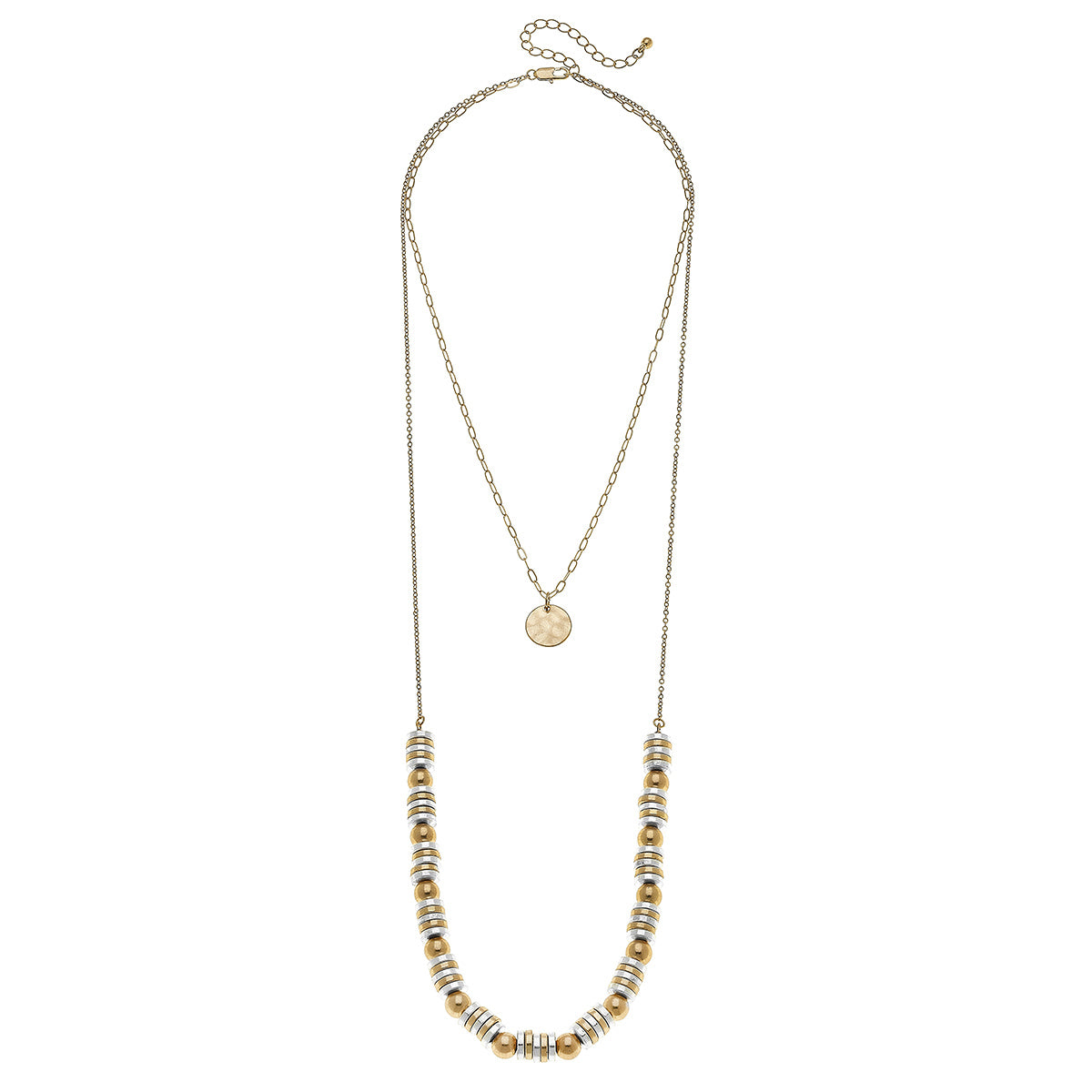 Carmen Layered Beaded Metal Necklace in Two-Tone