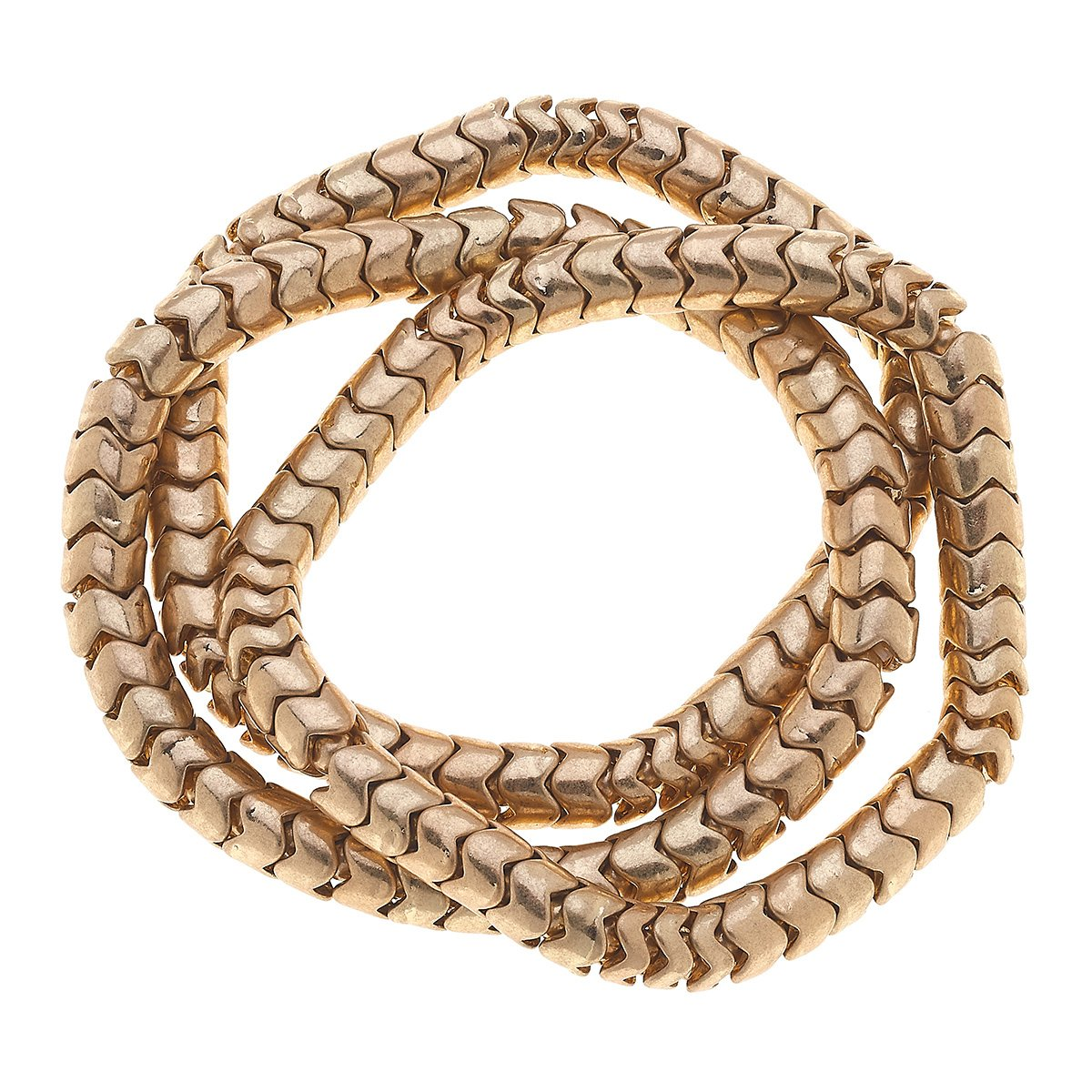 Kylie Chain Stretch Bracelets in Worn Gold (Set of 3)