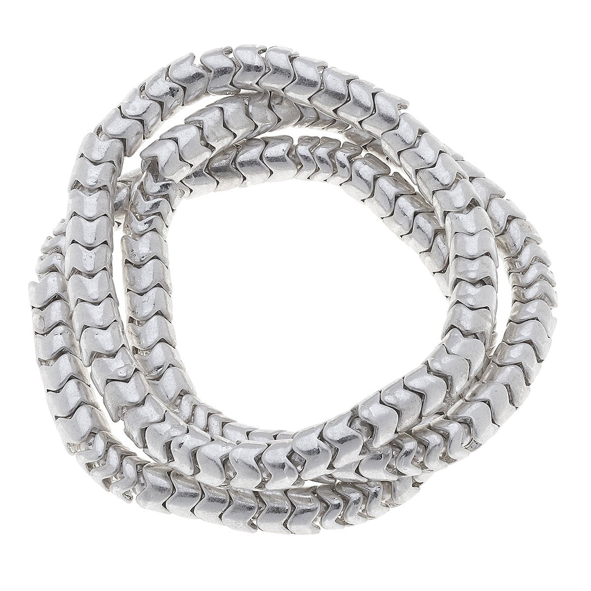 Kylie Chain Stretch Bracelets in Worn Silver (Set of 3)