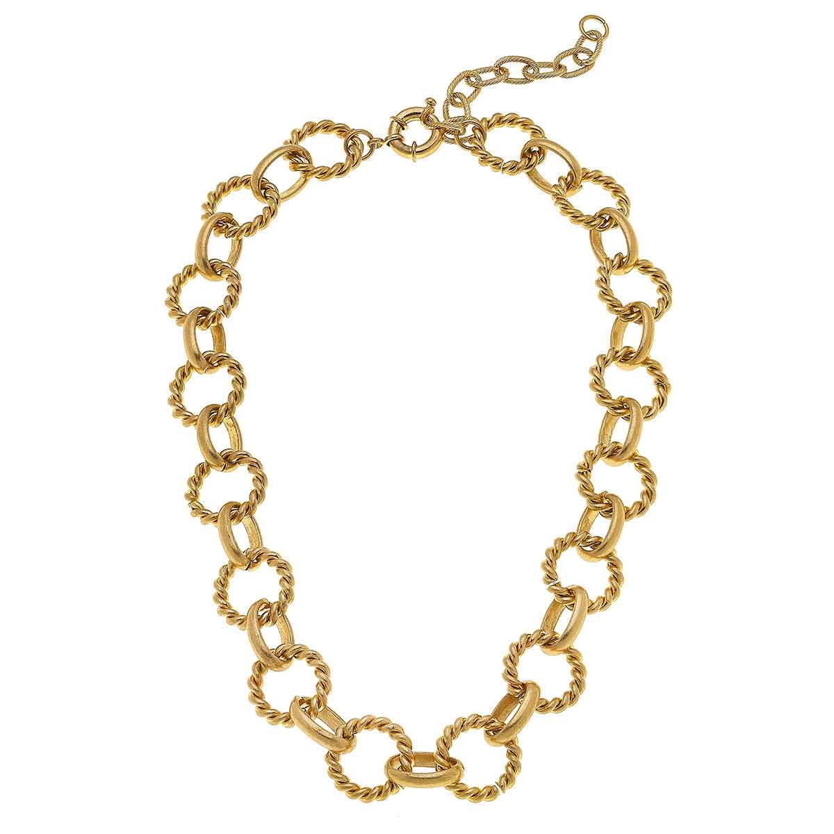 Angela Linked Rope Chain Necklace in Worn Gold